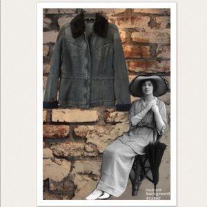 DKNY Jeans Denim Jacket w/Removable FauxFur Collar